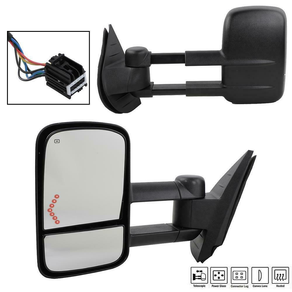 for 07 13 chevy silverado 1500 2500 2500hd pair power led signals towing mirrors ebay. Black Bedroom Furniture Sets. Home Design Ideas