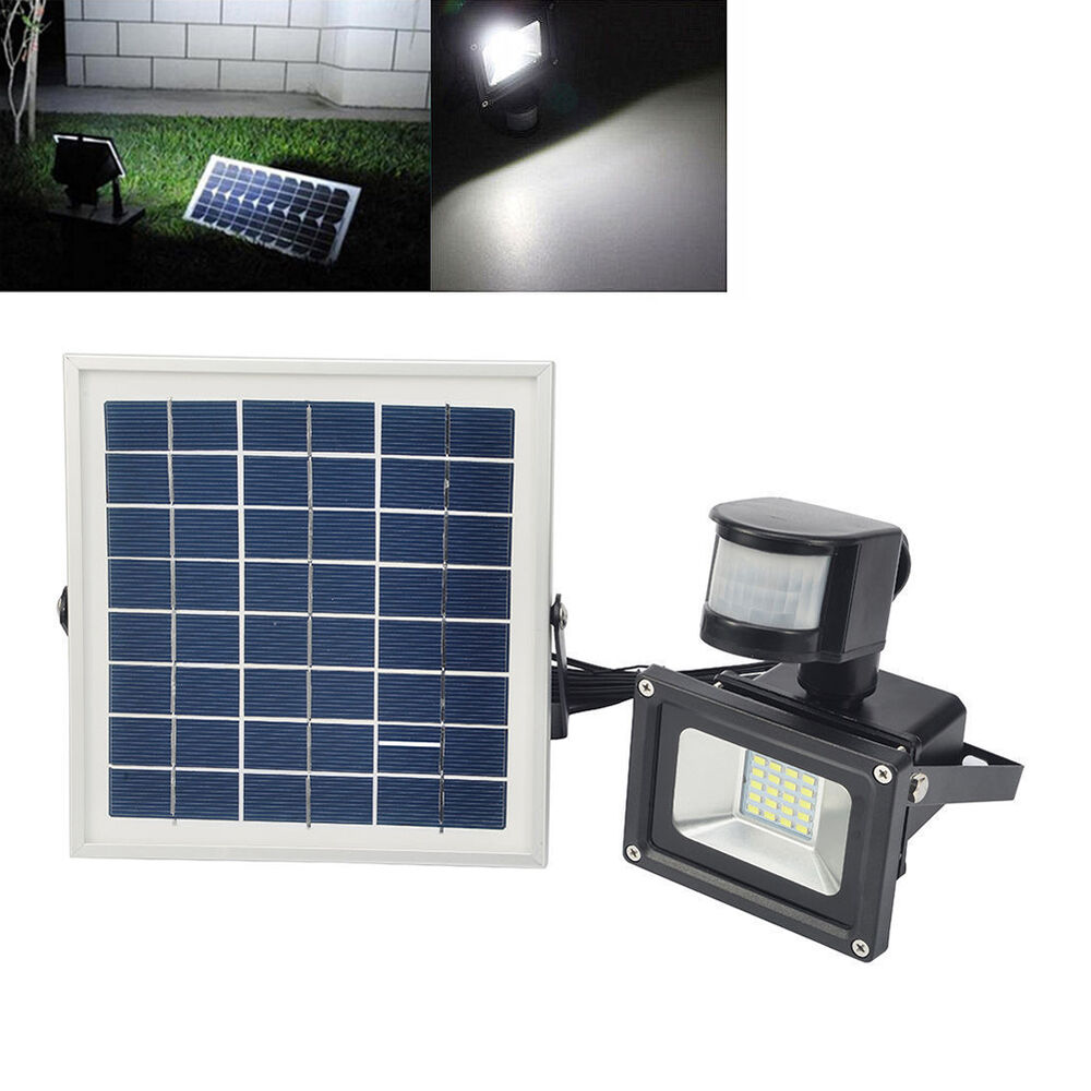 10w led solar floodlight with pir motion sensor outdoor garden security lights ebay