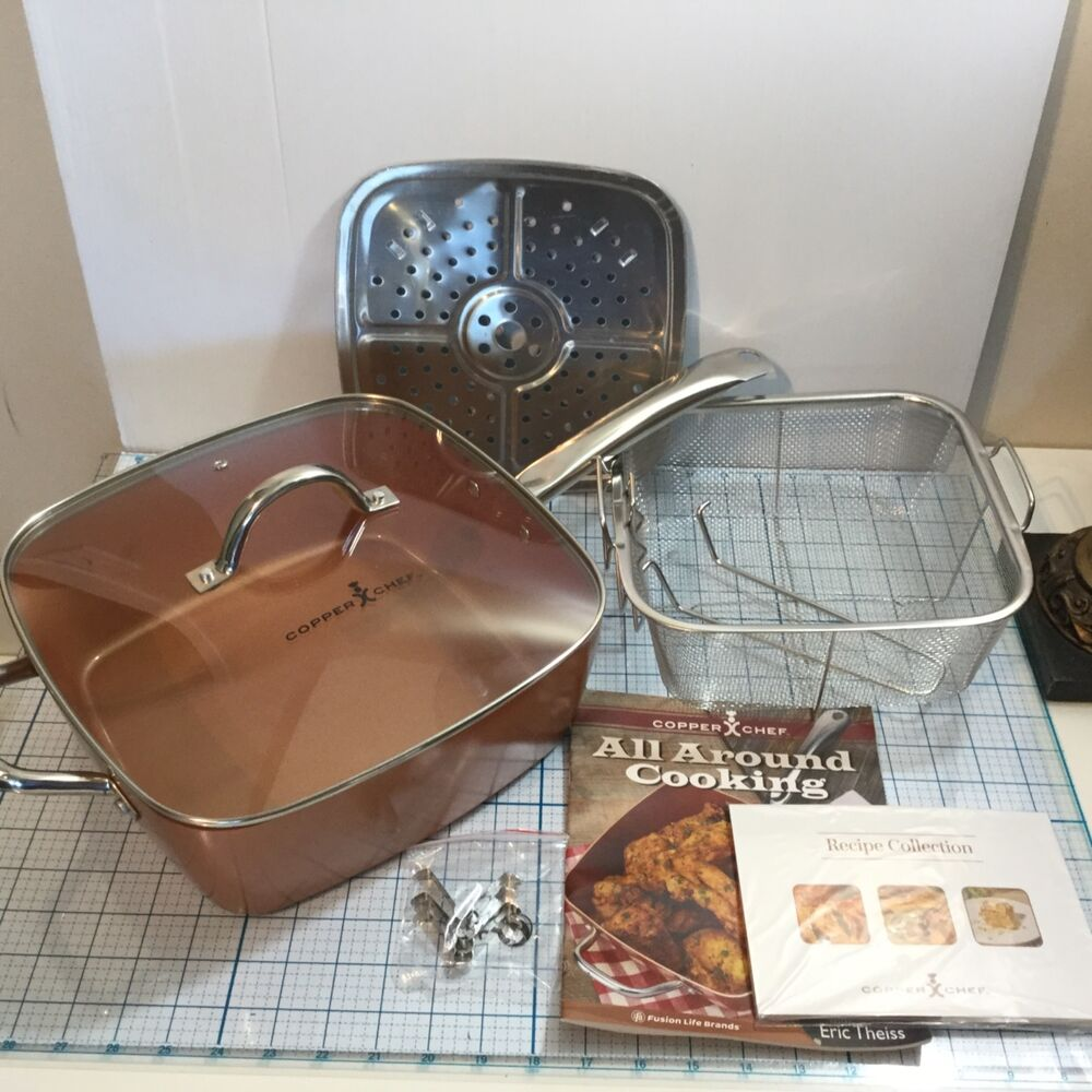 New Copper Chef 11 Quot Square Cooking Pan 5 Piece Set 1 Pan