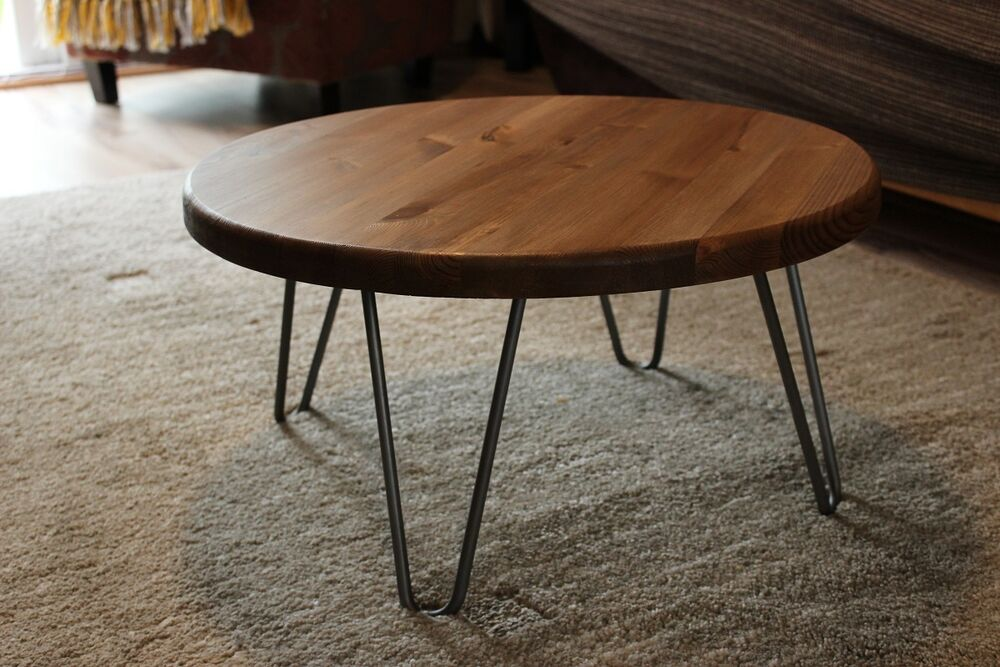 Rustic Vintage Industrial Wood Round Coffee Table Metal Hairpin Legs Ebay
