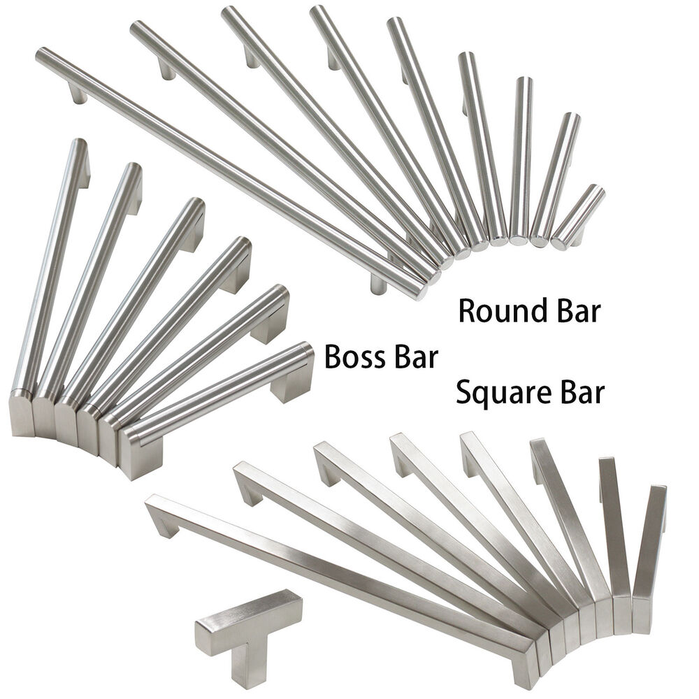 Brushed Nickel Cabinet Drawer Pulls Knobs Square Round Boss Bar Kitchen Handles Ebay