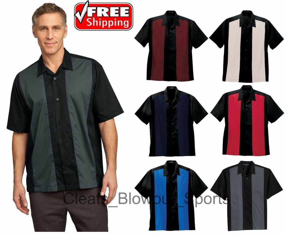 Mens Short Sleeve Camp Shirt Retro Bowling Style Dart