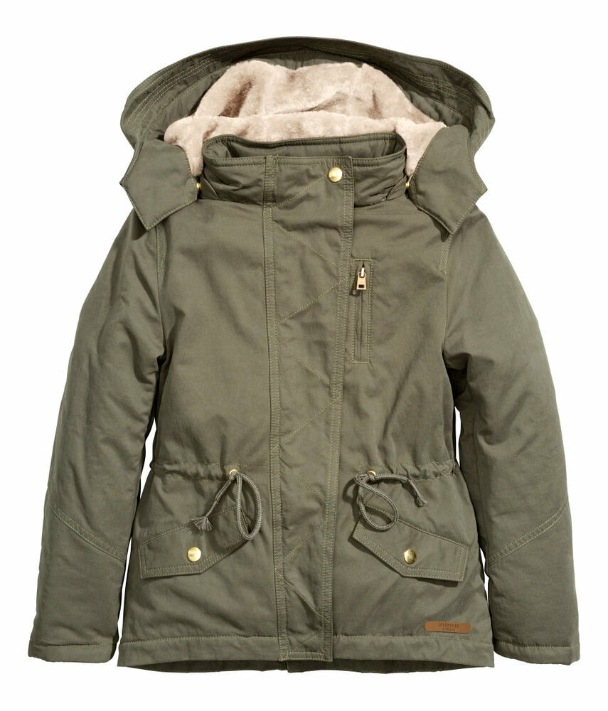 neu h m parka jacke winterjacke teddyfell khaki 128 134 140 146 152 158 164 170 ebay. Black Bedroom Furniture Sets. Home Design Ideas