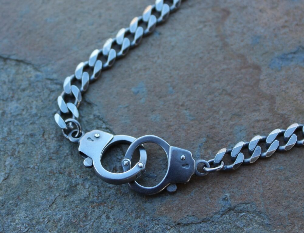 Handcuffs Oxidized Sterling Silver Necklace Heavy Flat