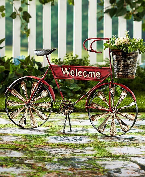 Welcome bicycle planter porch unique garden bike plant stand rustic flower pot ebay - Bicycle planter stand ...