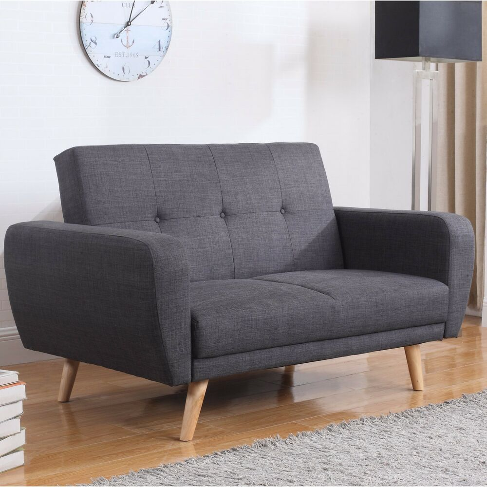 furniture living room retro fabric couch 2 seater wooden legs ebay