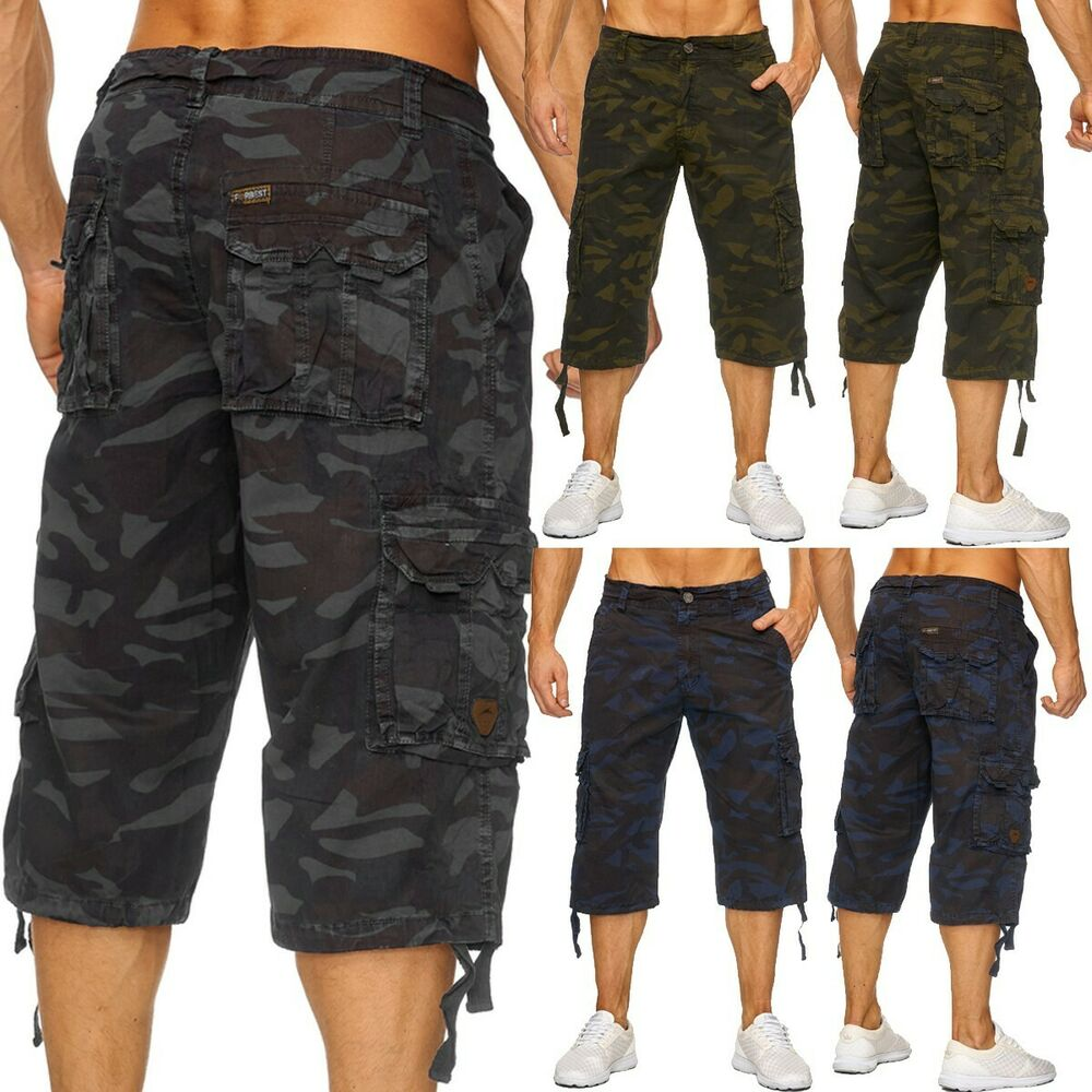 herren army camouflage 3 4 cargo shorts kurze hose. Black Bedroom Furniture Sets. Home Design Ideas