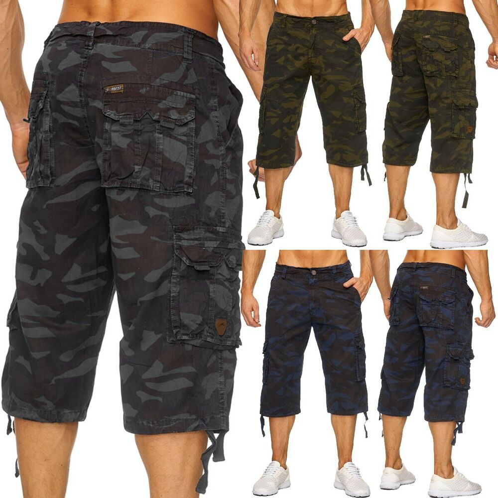 herren army camouflage 3 4 cargo shorts kurze hose tarnmuster caprihose bermudas ebay. Black Bedroom Furniture Sets. Home Design Ideas