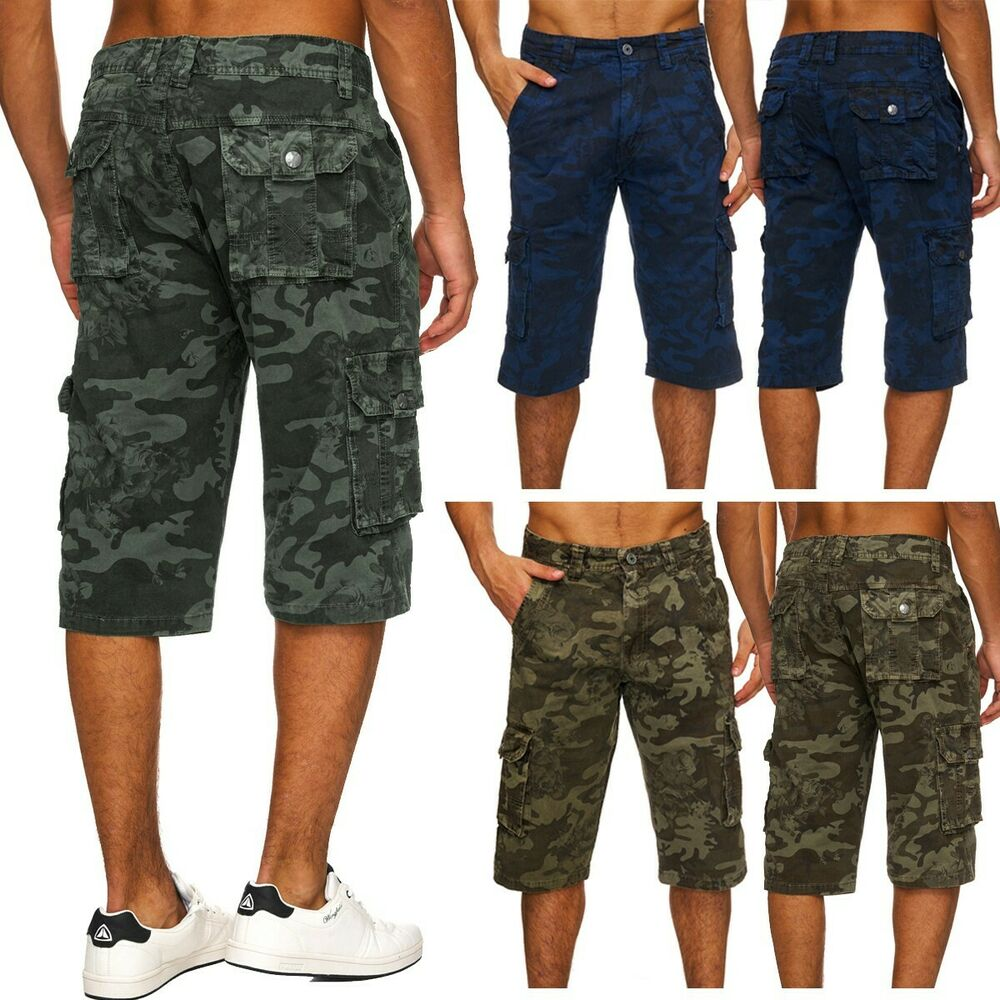 herren camouflage 3 4 cargo chino shorts army hose tarnmuster caprihose bermudas ebay. Black Bedroom Furniture Sets. Home Design Ideas