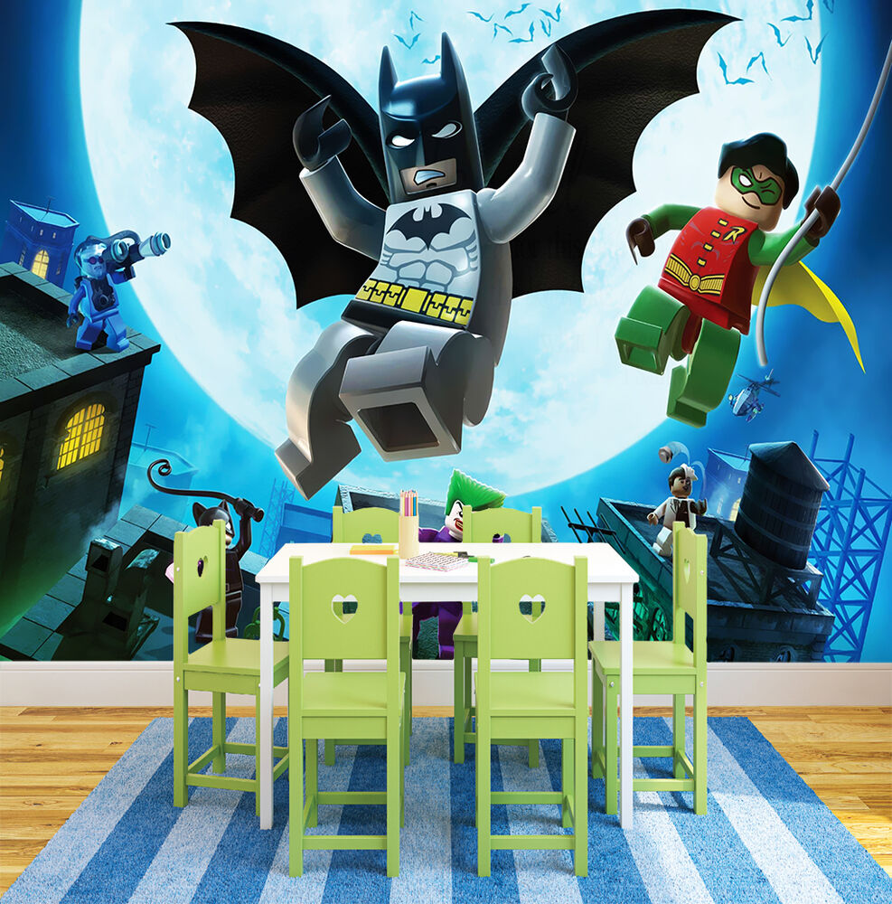 Hq lego heroes batman robin wall mural photo wallpaper for Batman mural wallpaper uk