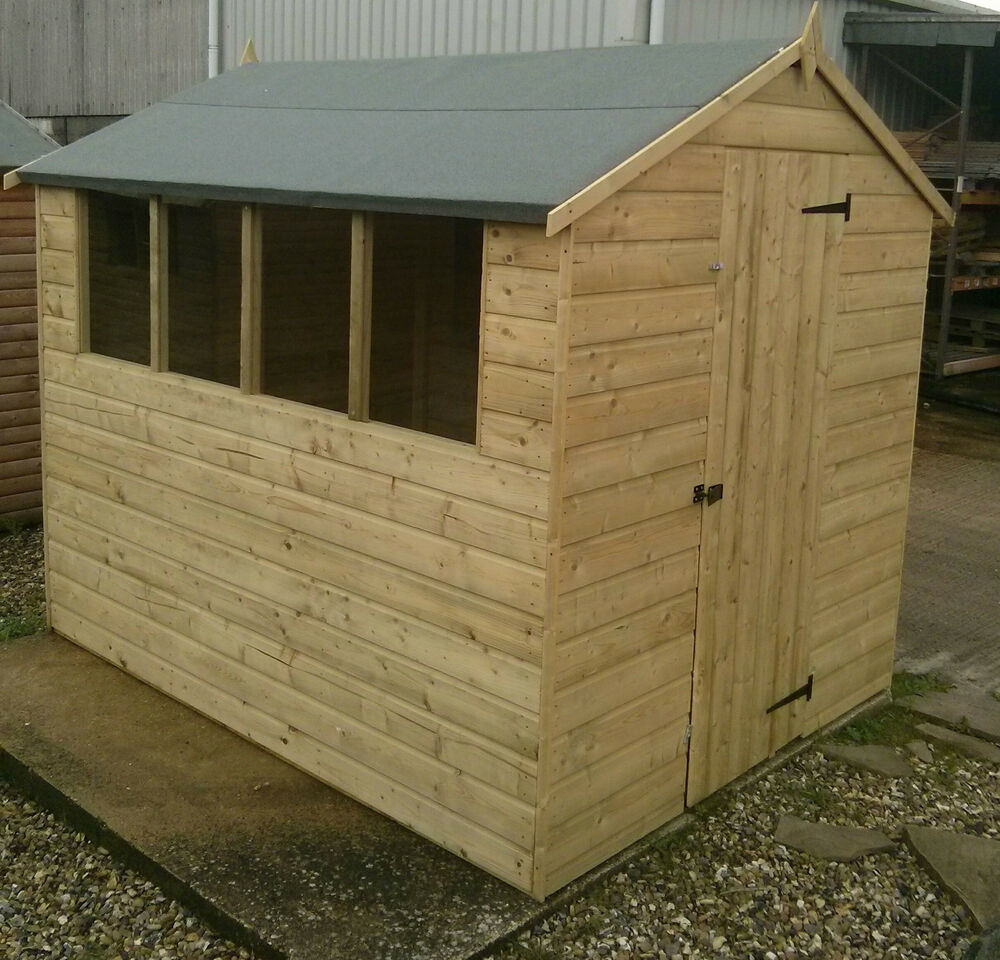 Pressure treated tanalised apex shiplap t g wooden garden for Garden shed sizes