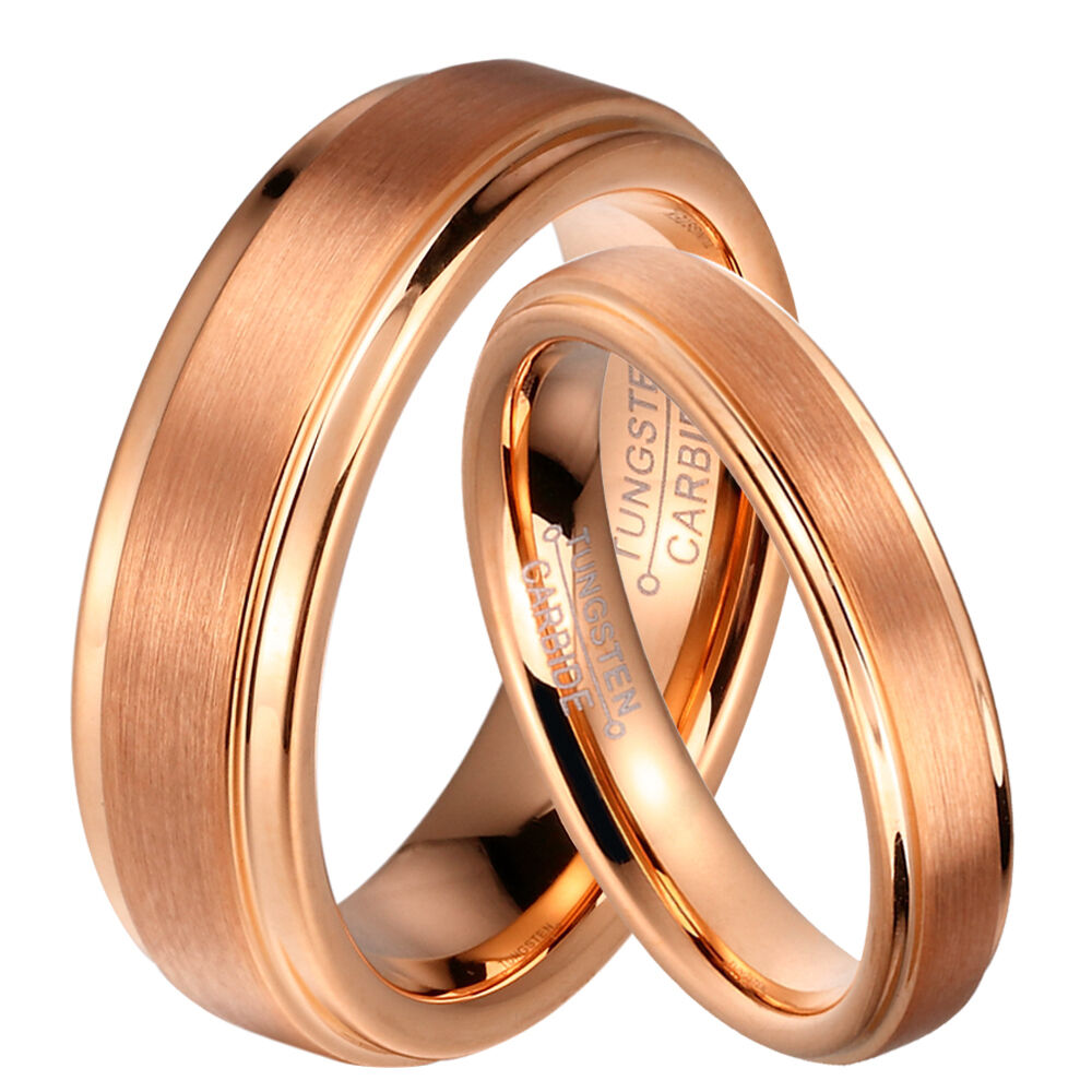 tungsten wedding rings 8mm men or 6mm women tungsten carbide gold brushed 8108