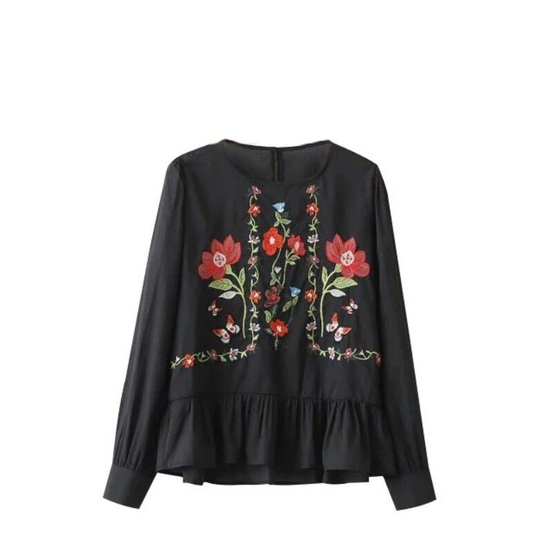 Women embroidered blouse black white shirt lady flower for White floral shirt womens