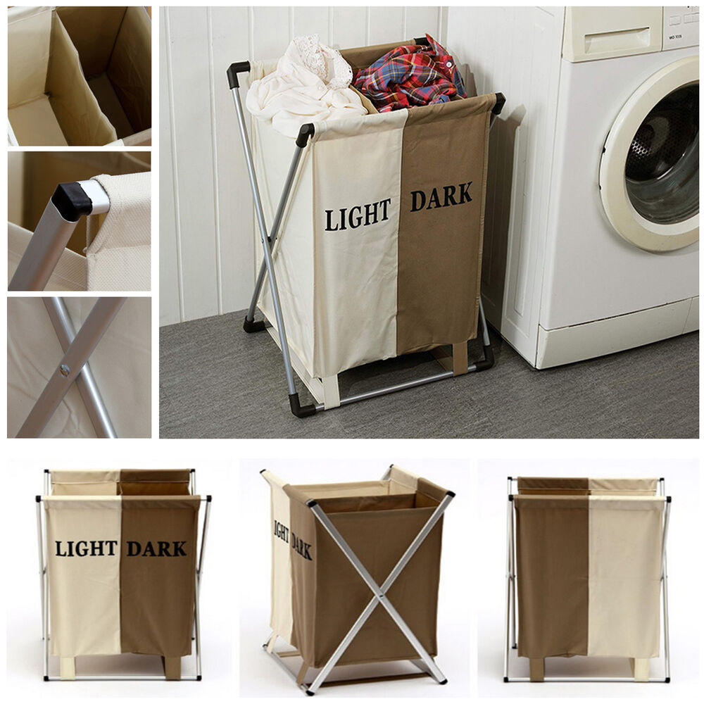 Aluminum Folding 2 Section Laundry Basket Storage Bin