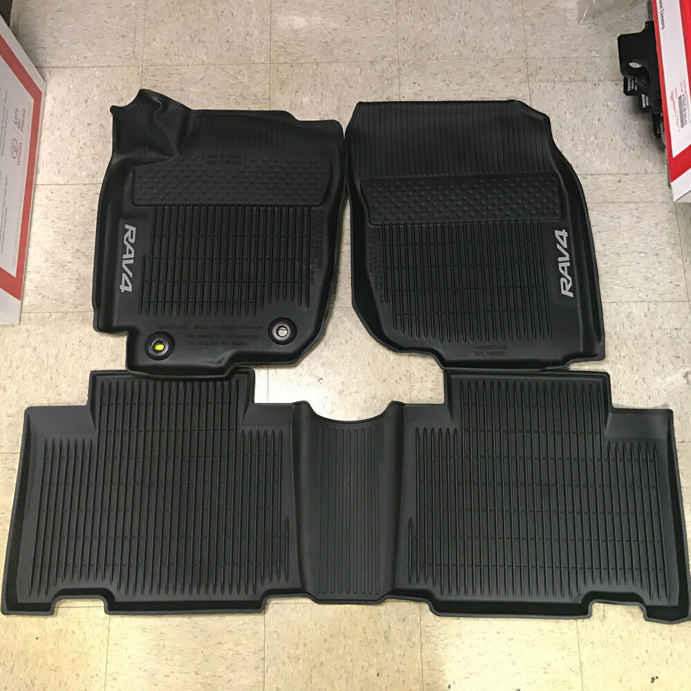2013 2018 rav4 floor liner mat rubber all weather toyota for Original toyota floor mats