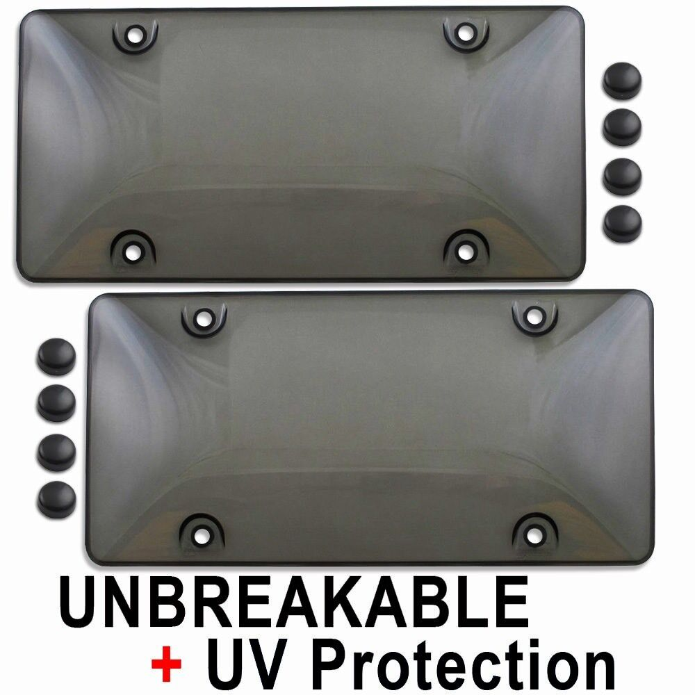 2 Tinted License Plate Frame Cover Bubble Shields