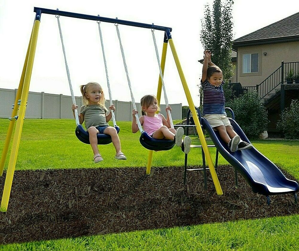 Swing Set Playground Metal Outdoor Play Slide Kids