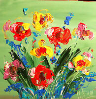 WILD FLOWERS  MODERN  ART CANVAS PAINTING STRETCHED ORIGINAL OIL UK6WYWEF