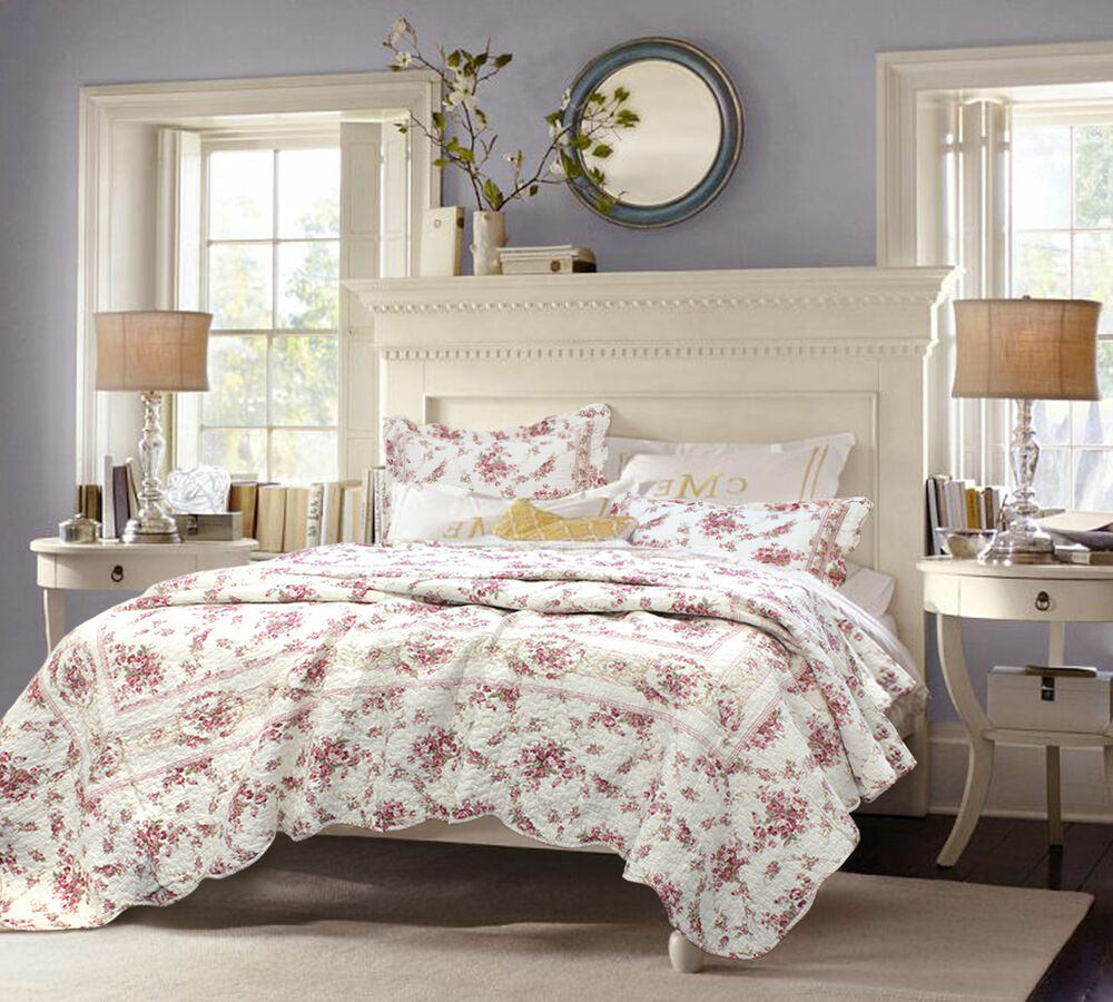 Shabby Chic Bedding: Shabby Chic Vintage Cottage Pink, Rose Floral 3 Pcs Cotton