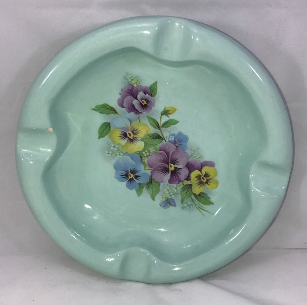 Vintage 60s Teal Ceramic Floral Ashtray Collectible Gift