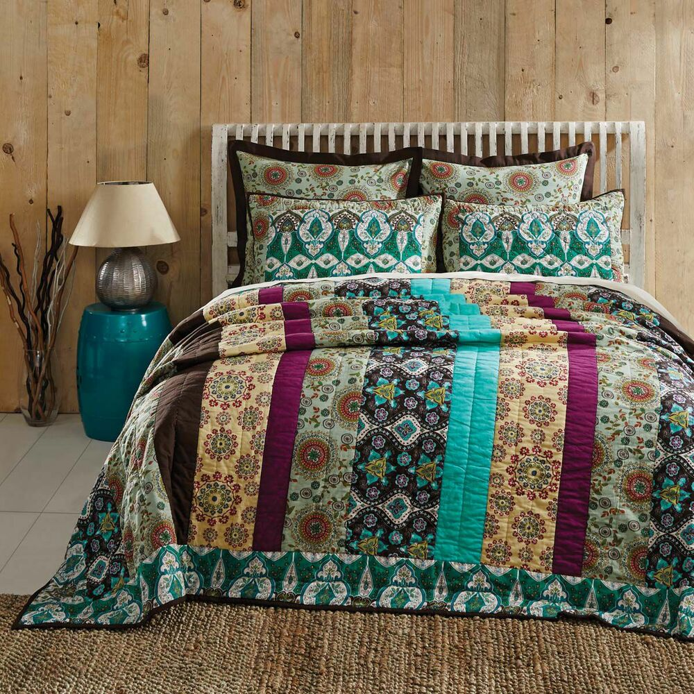 Capri 100 Cotton Bohemian King Quilt Multicolor Floral