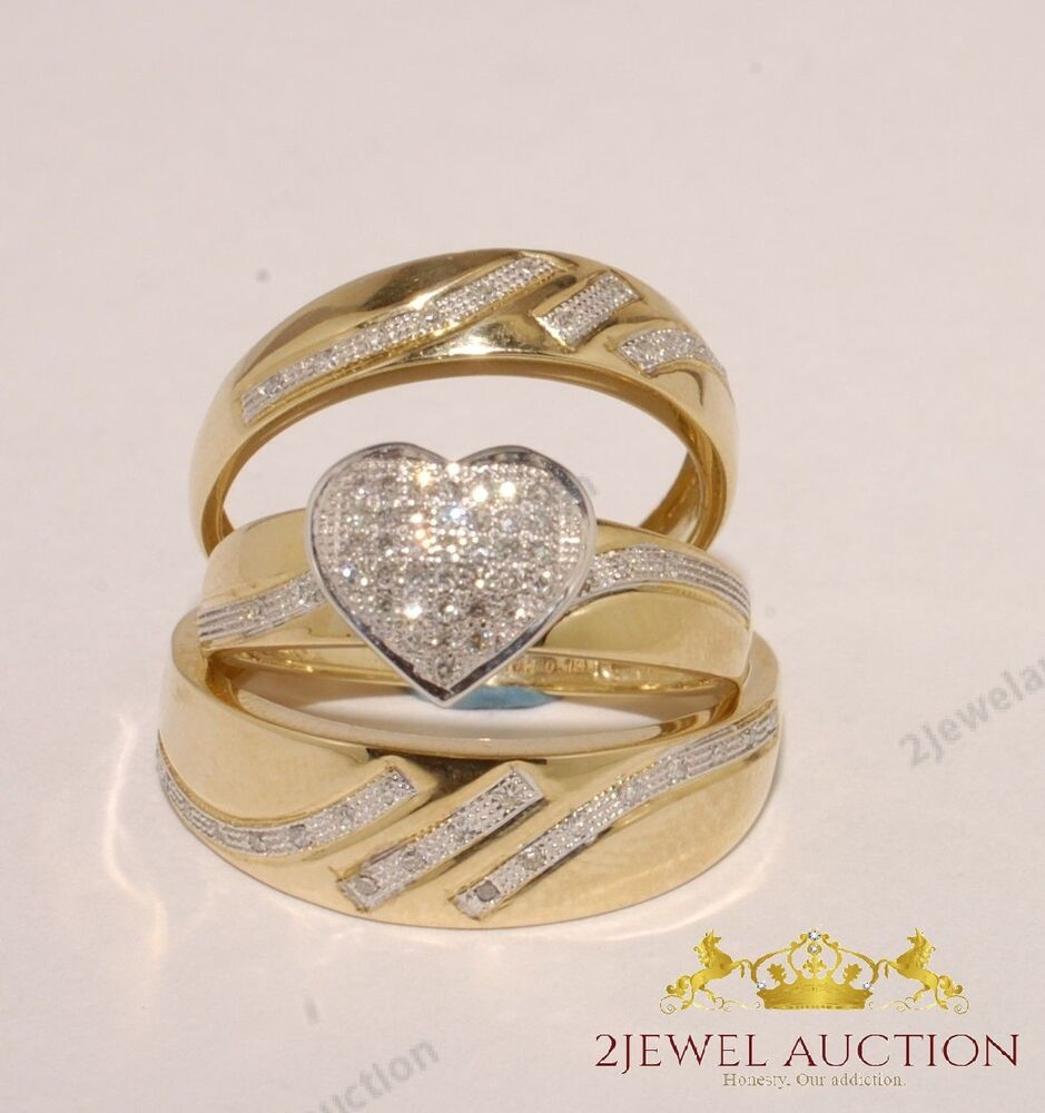 wedding ring trio sets 2 20ct 14k yellow gold cut engagement bridal 1003