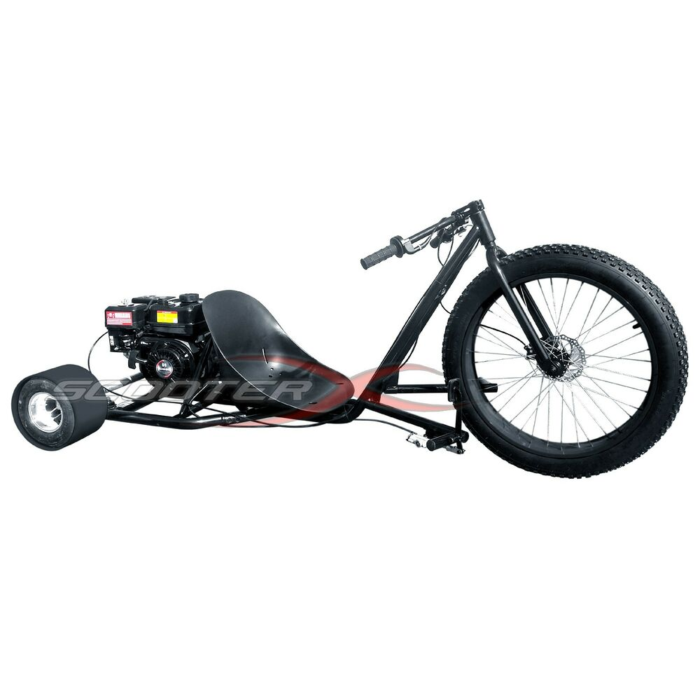Drift trike gas powered 6 5hp 3 wheel big black cart go for Motor scooter 3 wheels