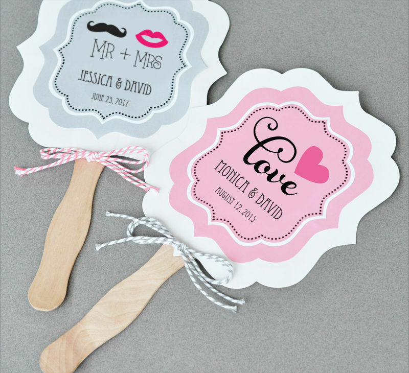 Wedding Fan: 24 Personalized Paddle Fans Bright Theme Wedding Party