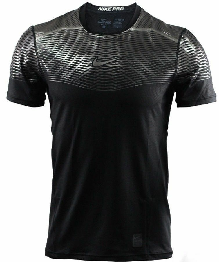 Nike pro shirt hypercool max fitted training black silver for Nike men s pro cool sleeveless shirt