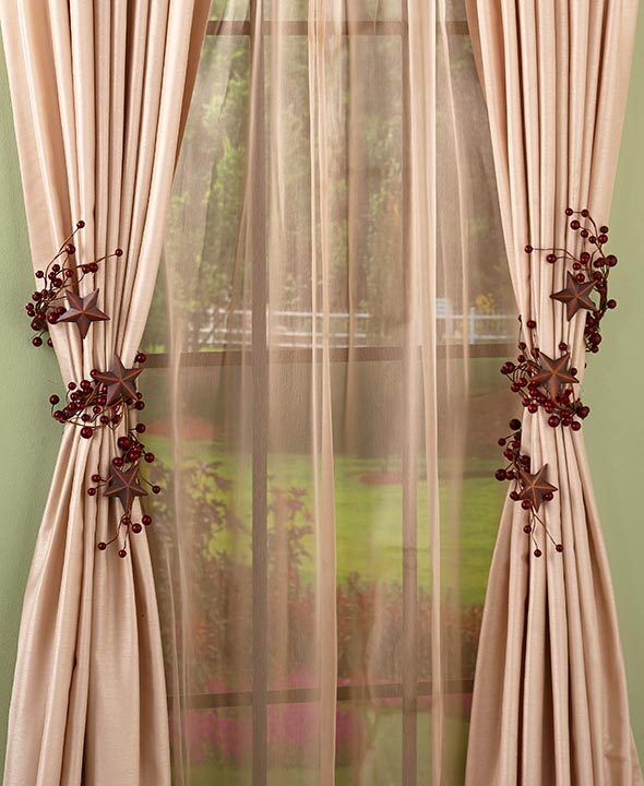 set of 2 decorative country curtain tie backs red or natural stars or hearts ebay. Black Bedroom Furniture Sets. Home Design Ideas