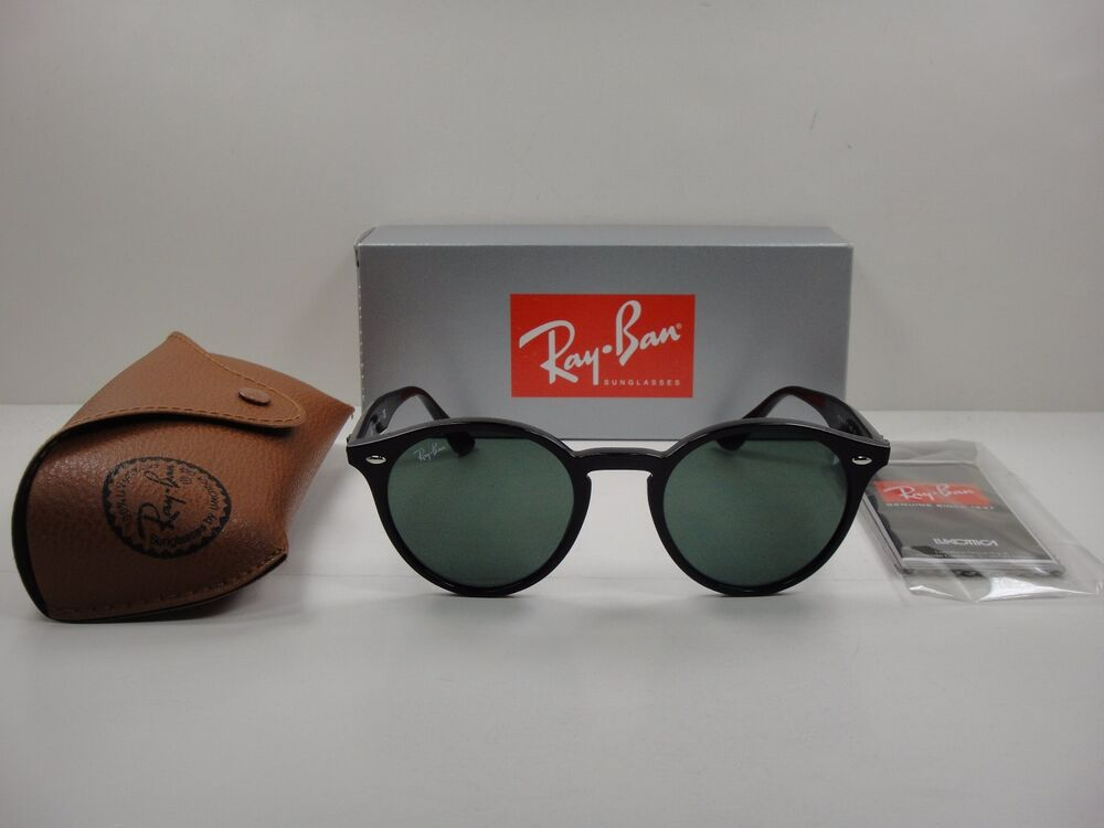 e49f2a9da1 Details about RAY-BAN ROUND SUNGLASSES RB2180 601 71 BLACK FRAME GREEN  CLASSIC G-15 LENS 49MM
