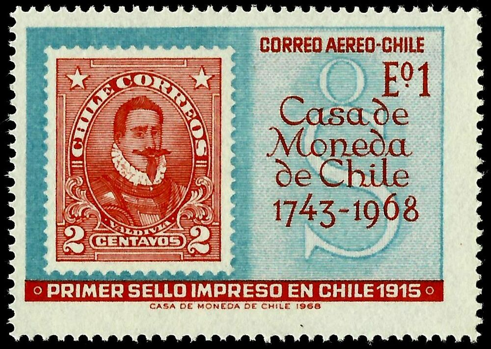 CHILE STAMP OVER FIRST PRINTED IN YEAR 1968
