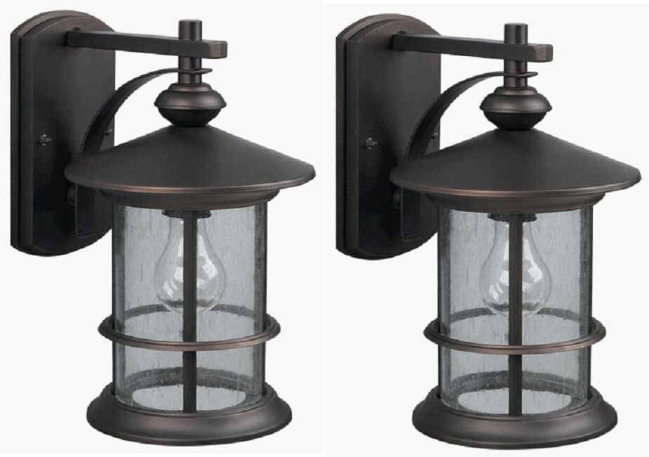 2 Pack Oil Rubbed Bronze Outdoor Wall Mount Lantern Lights