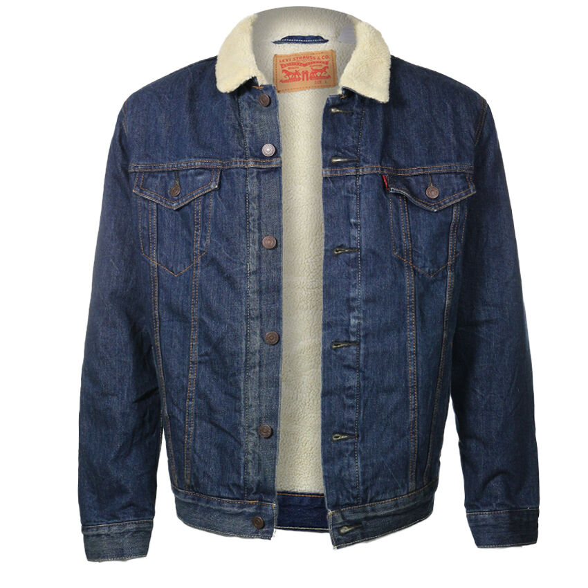 LEVI'S MEN'S SHERPA CLASSIC BLUE JEAN DENIM TRUCKER JACKET ...