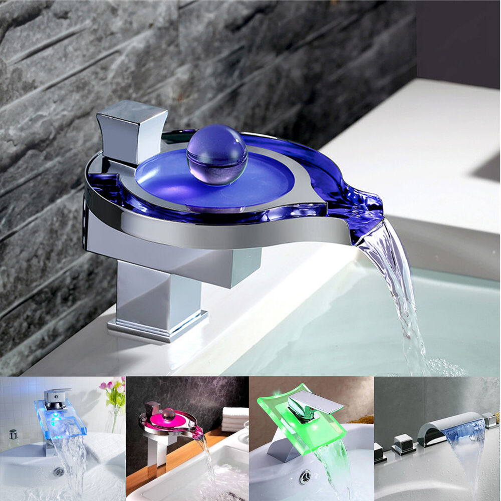 led bathroom sink faucet modern single handle waterfall bathroom waterfall sink led 19171