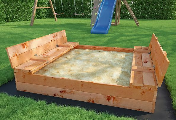 sandkasten sandkiste sandbox mit deckel sitzb nken 120x115cm holz ebay. Black Bedroom Furniture Sets. Home Design Ideas