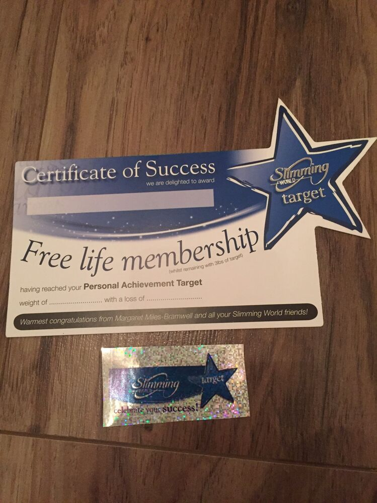 Slimming World Target Certificate And Sticker Weight Loss