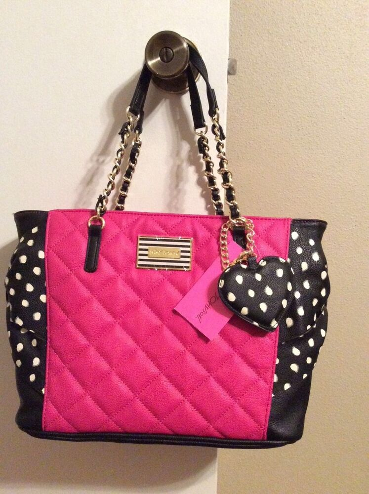 New Pink Betsey Johnson Quilted Polka Dot Bow Hotty Pocket