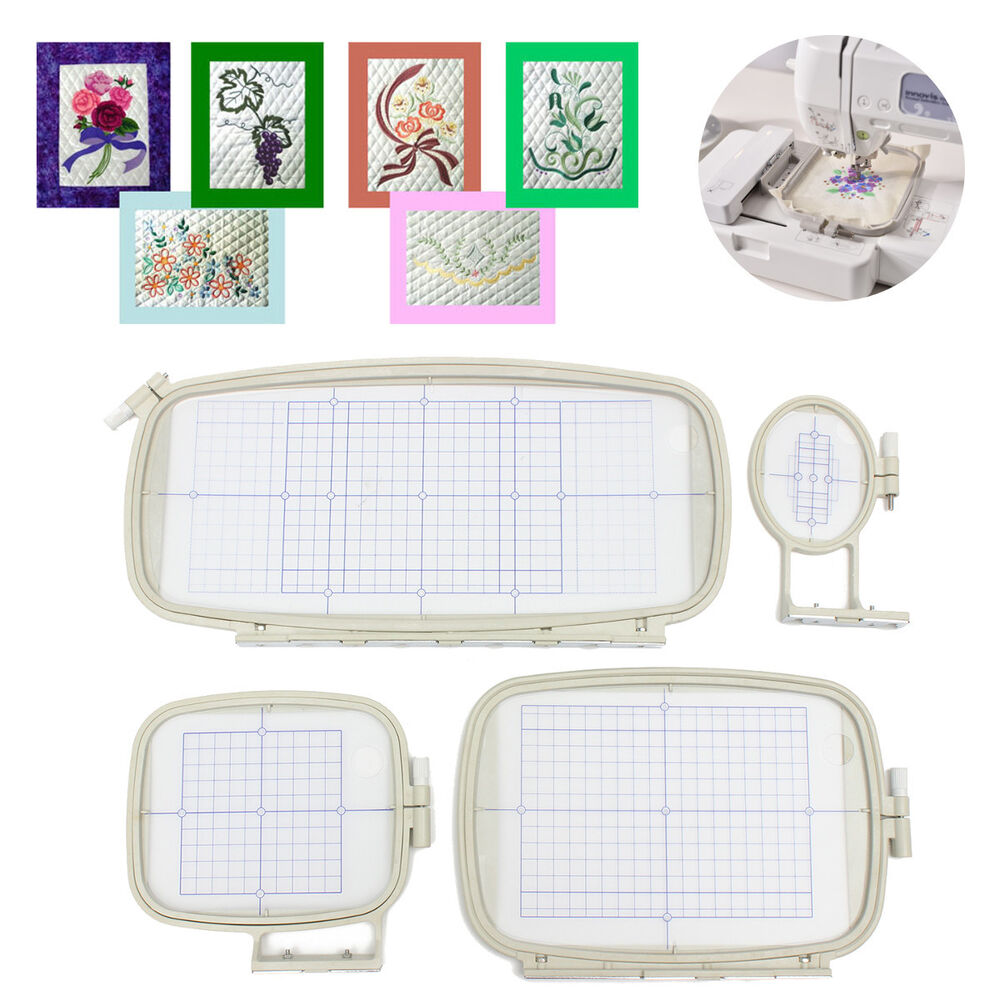Embroidery hoop set in sewing frame for brother