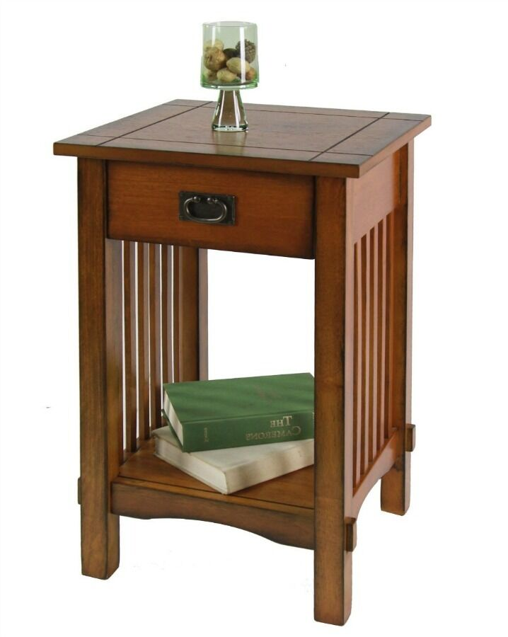 Mission Style Side End Table Nightstand Antique Oak Finish Wood Furniture Drawer Ebay