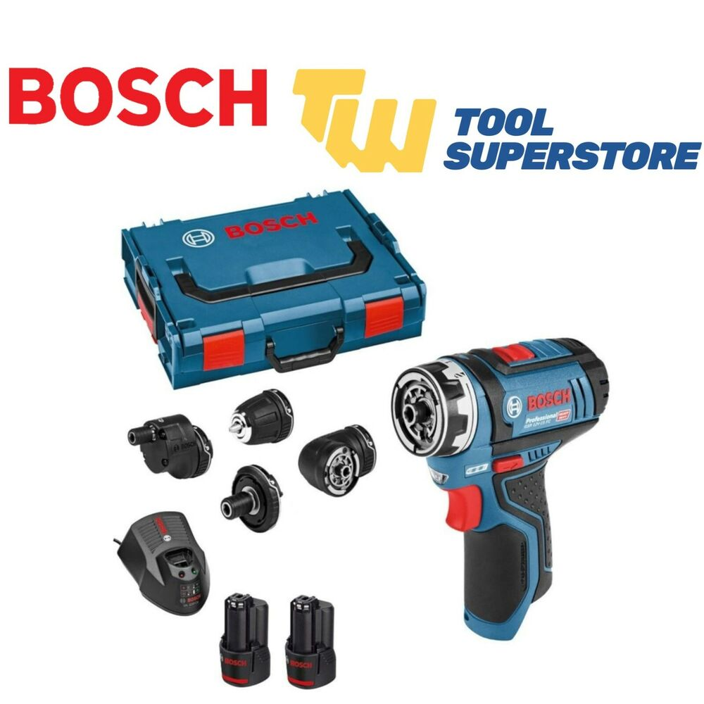 bosch gsr 12v 15 fc 12v flexi click drill driver with 4x chucks 2x 2 0ah batts ebay. Black Bedroom Furniture Sets. Home Design Ideas