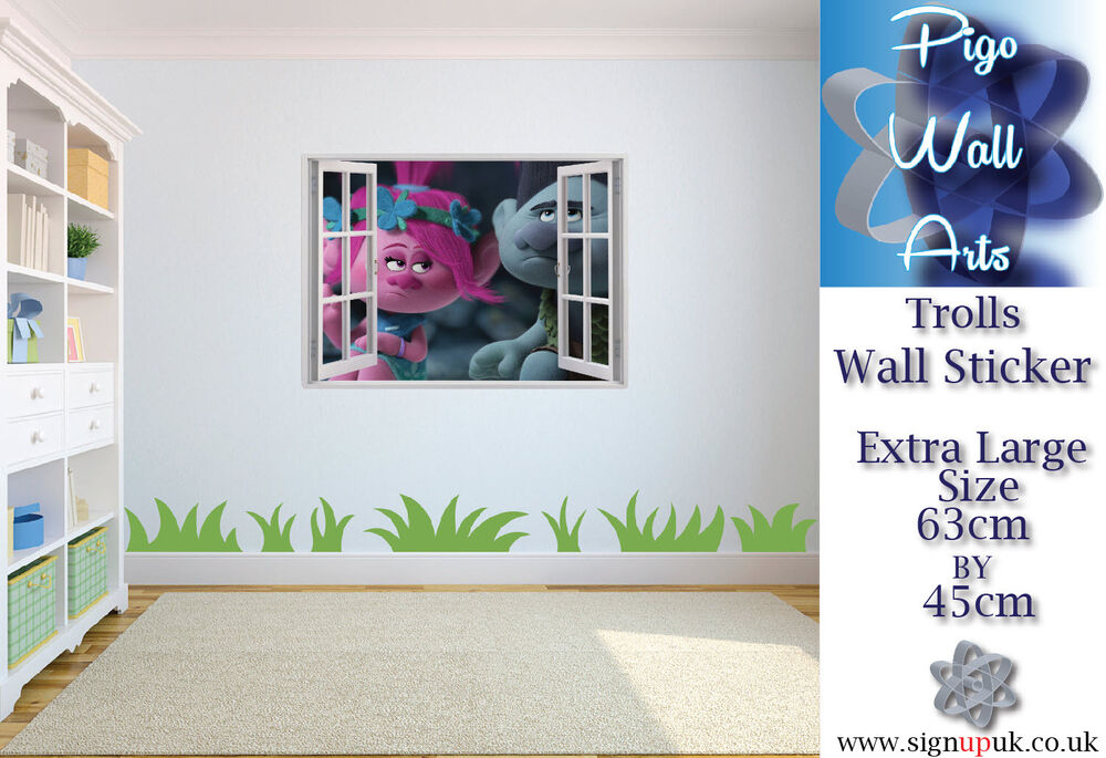 trolls wall sticker 3d window view wall stickers art decal mural