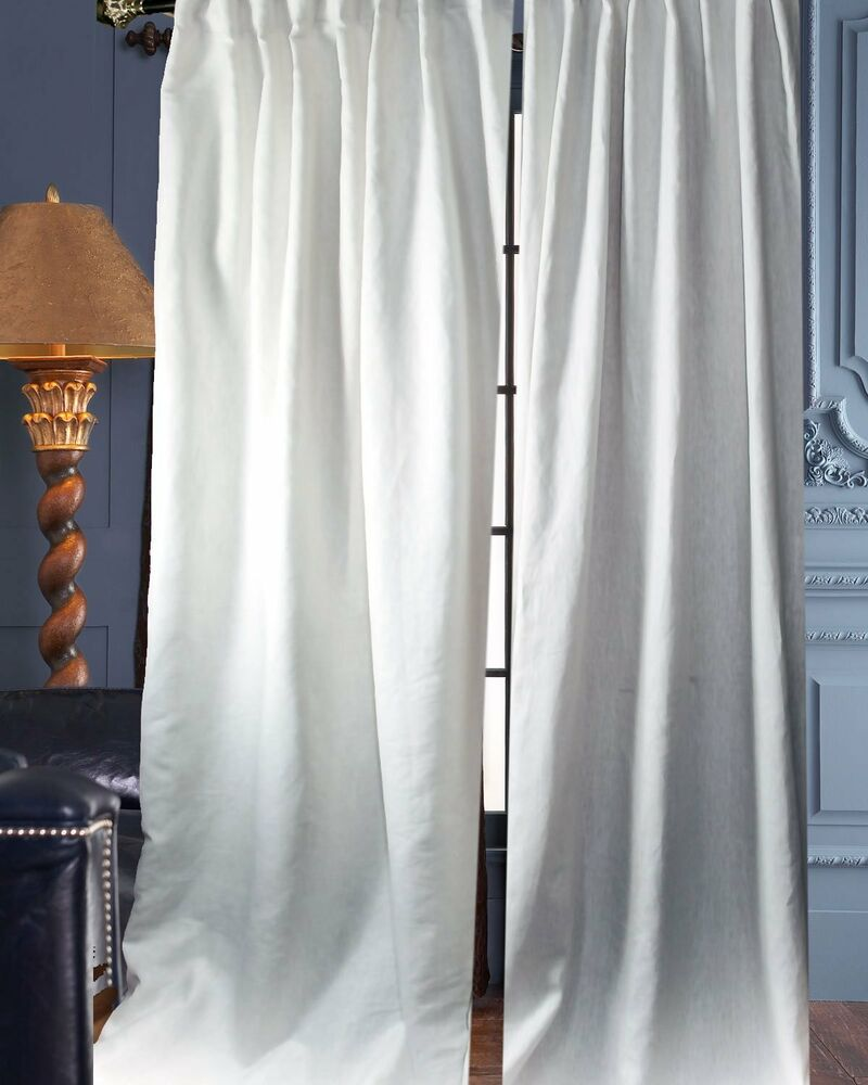 100 white organic linen panels curtains lined each 52 wide sold as pair ebay. Black Bedroom Furniture Sets. Home Design Ideas
