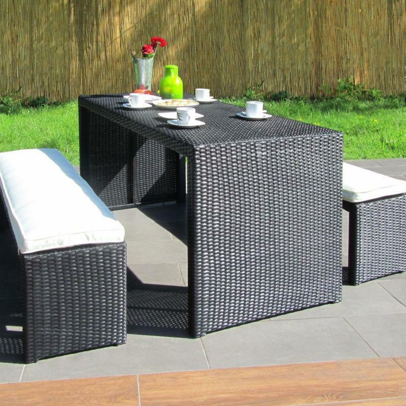 syli poly rattan garten m bel esstisch bank auflagen. Black Bedroom Furniture Sets. Home Design Ideas
