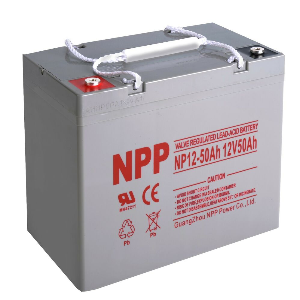 npp 12v 50ah 55ah agm vrla sealed lead acid battery 50 amps high cap ebay. Black Bedroom Furniture Sets. Home Design Ideas
