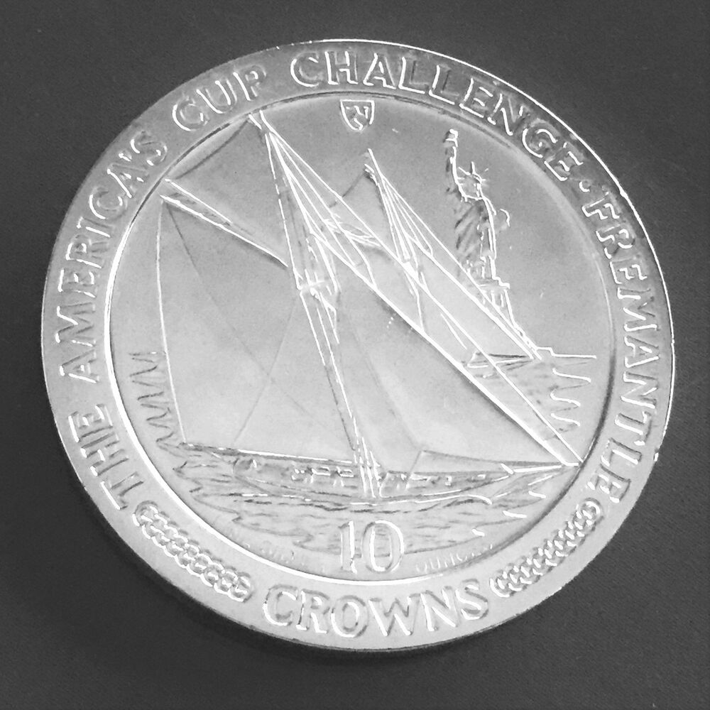 1987 America S Cup Sailing Isle Of Man Crowns 10 Oz 999