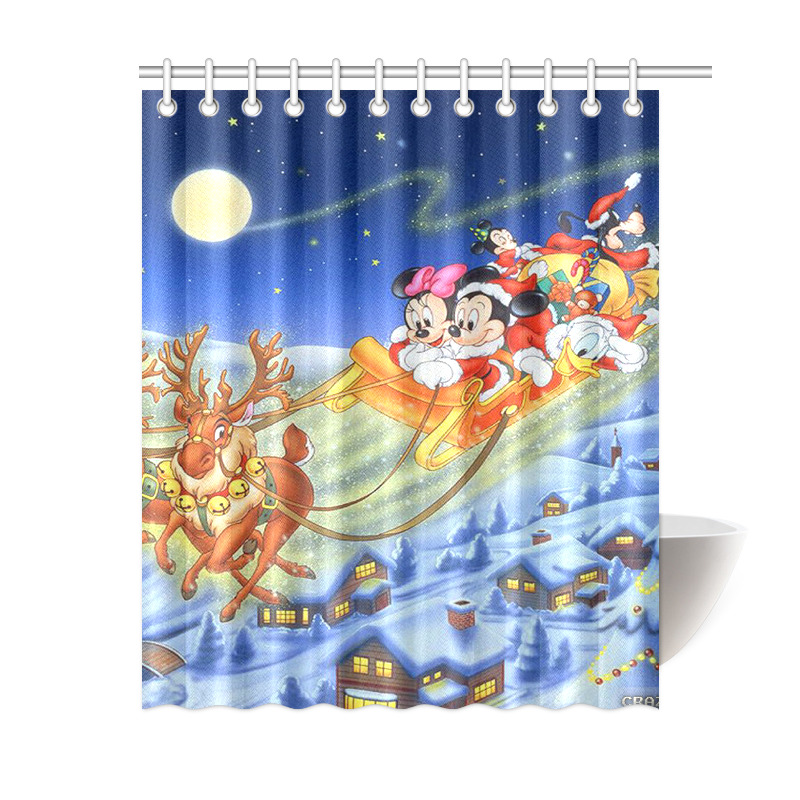 Minnie Mouse Mickey Mouse Merry Christmas Waterproof Bath Shower Curtain 60 X 72