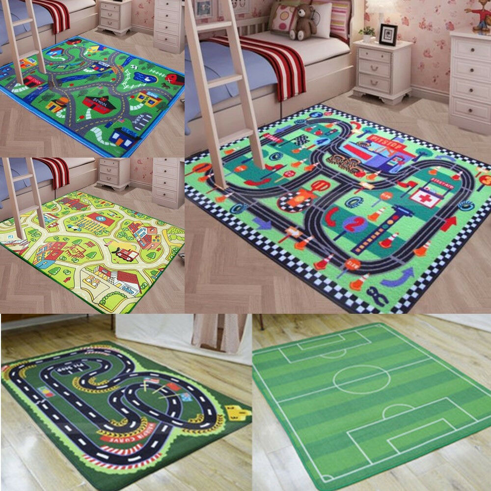City Street Roads Kids Fun Car Play Rug 100x150cm Non: Floor Area Rug Baby Kids Child Play Mat Anti-slip Bedroom