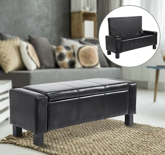 Storage Bench Seat Black PU Leather Ottoman Living Room