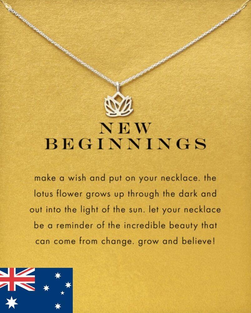 Silver Lotus Flower Pendant Necklace New Beginnings Good Luck Charm